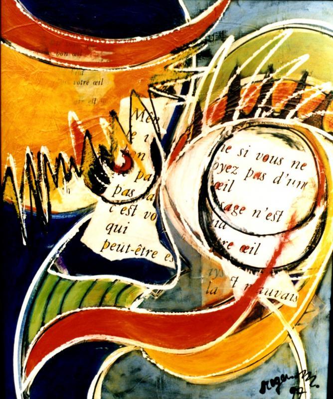 1997 l oeil du clown 1997 55x65 acrylique sur toile