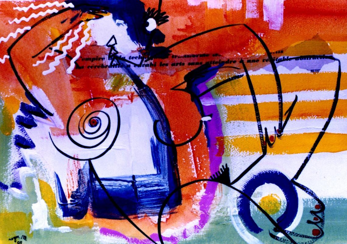 1998 femme au soleil 1998 50x25 acrylique sur papier