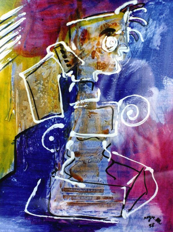 1998 la statue 18x24 acrylique sur papier