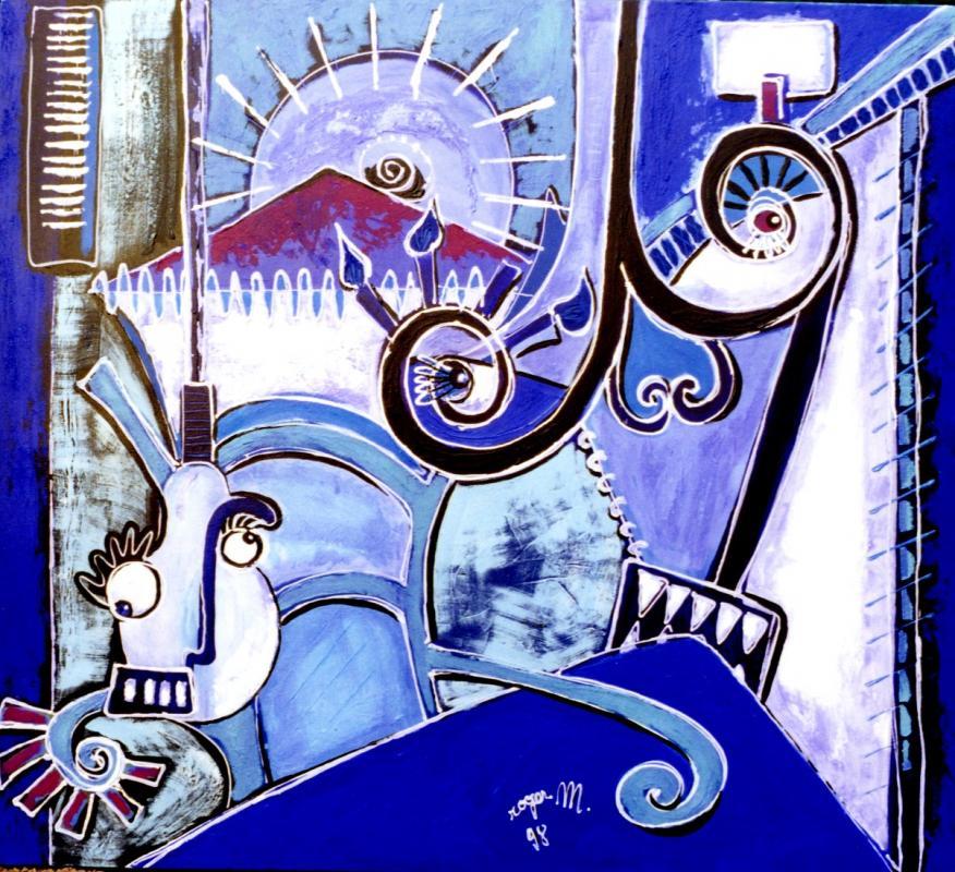 1998 lampes bleues 1998 140x100 acrylique sur toile