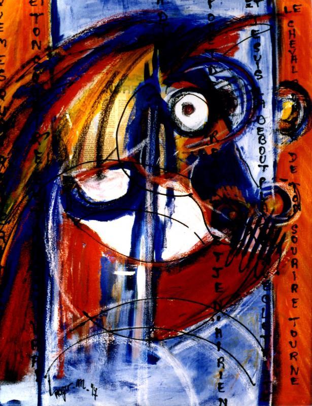 1998 le cheval rouge 1998 60x73 acrylique sur toile