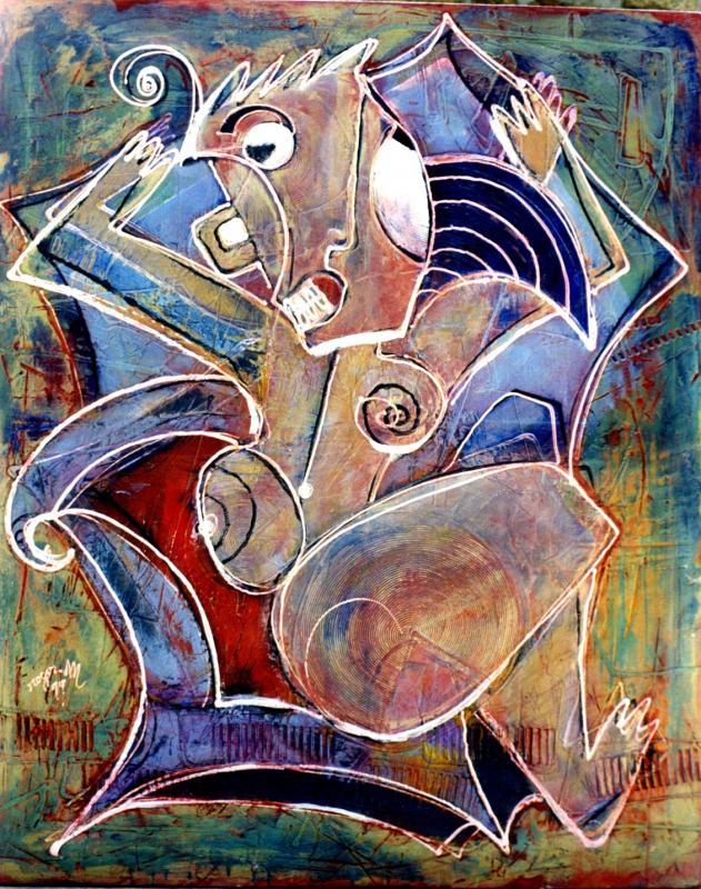 1999 femme au fauteuil 1999 140x100 acrylique sur toile