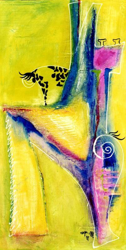 1999 girafe 1999 140x70 acrylique sur toile