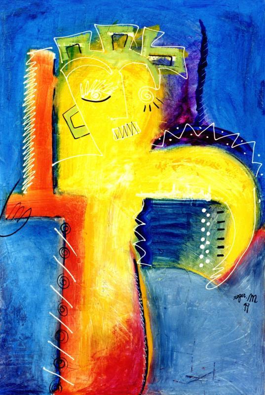 1999 l accordeoniste 1999 140x90 acrylique sur toile