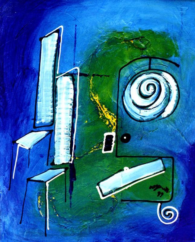 1999 meubles bleus 1999 54x65 acrylique sur toile