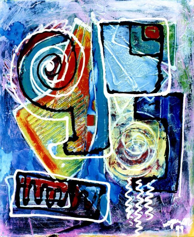 1999 visage barriole 1999 60x73 acrylique sur toile