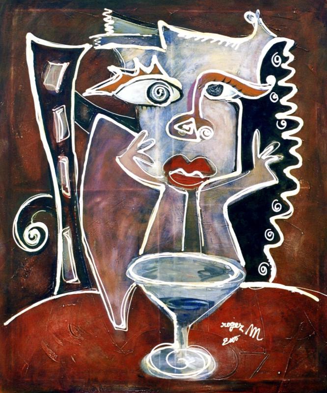2000 femme au bar 2000 140x120 acrylique sur toile