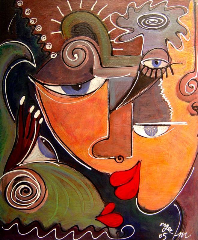 2005 le baiser au poisson 2005 55x46 acrylique sur toile