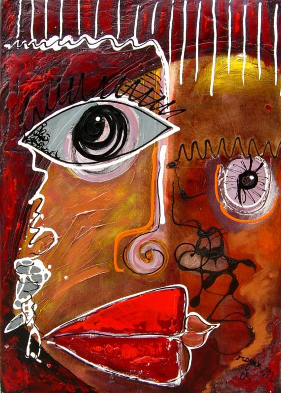 2005 visage aux levres rouges 45x75 acrylique sur toile