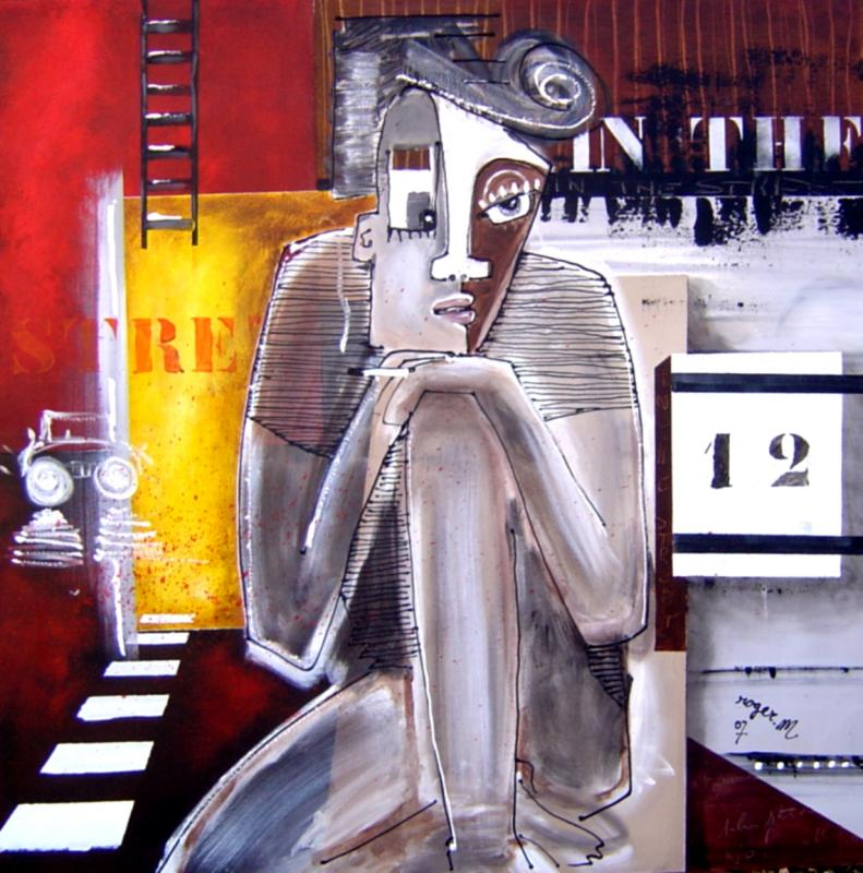 2007 in the street 100 x 100 acrylique sur toile