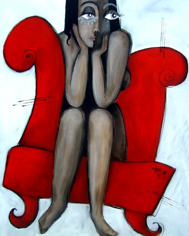 2008 femme nue sur canape rouge acrylique sur toile