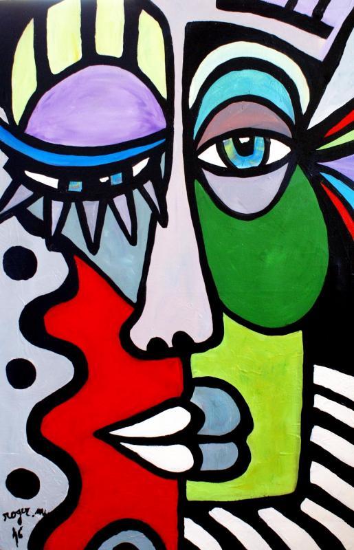 2016 la femme coloree acrylique sur toile