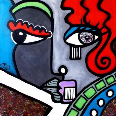 2016 la femme rousse 80 x 80 acrylique sur toile 1